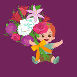 Vector illustraion greeting cart baby boy Happy Mothers Day Stock Images