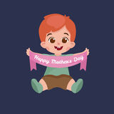 Vector illustraion greeting cart baby boy Happy Mothers Day Royalty Free Stock Photography