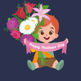 Vector illustraion greeting cart baby boy Happy Mothers Day Stock Photos