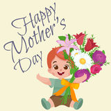 Vector illustraion greeting cart baby boy Happy Mothers Day. Vector illustraion of greeting cart baby boy Happy Mothers Day stock illustration