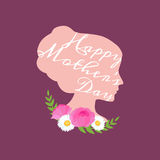 Vector illustraion greeting cart Happy Mothers Day lettering woman Royalty Free Stock Photos