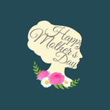 Vector illustraion greeting cart Happy Mothers Day lettering woman Royalty Free Stock Images