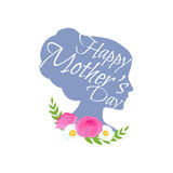 Vector illustraion greeting cart Happy Mothers Day lettering woman Stock Image