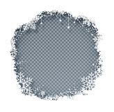 Vector illustraiton of Christmas frame. Vector illustration of Christmas frame with snowflakes with shadow on transparency background Stock Photo