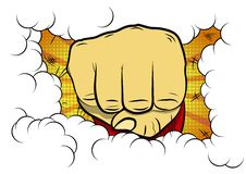 Vector illustrated comic book style cartoon clenched fist. Vector illustrated comic book style cartoon clenched fist hitting from a comic book background royalty free illustration