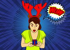 Woman holding a small gift box. Wow text in a speech bubble. vector illustration