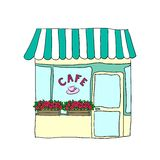 Vector illustrated cute street cafe Royalty Free Stock Photography