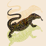 Vector Illustrated desert Varan in engraved technic on beige background Royalty Free Stock Photography