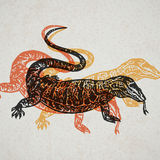 Vector Illustrated desert Varan in engraved technic on old paper Royalty Free Stock Photo