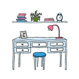 Vector illustrated desk and shelf with books Royalty Free Stock Photography