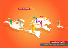 Vector illustrated diagram of global social networks Stock Images