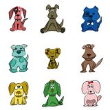 Vector illustrated dogs. Cartoon collection of nine different puppy. stock illustration
