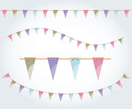 Vector illustrated flag garland set. Triangle flags on the rope. Pastel party decoration.Birthday design decoration Stock Photography