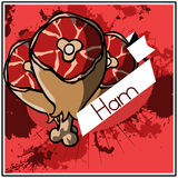 Vector illustrated ham label Royalty Free Stock Photo