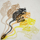 Vector Illustrated Jerboa in engraved technic on old paper Royalty Free Stock Photo
