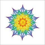 Vector illustrated mandala with Om sign in the middle. Isolated on white background. Colorful and bright stock illustration