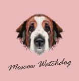 Vector illustrated Portrait of Moscow Watchdog dog Stock Photography