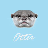 Vector Illustrated Portrait of Otter. Cute face of  aquatic Otter on blue background Stock Photography