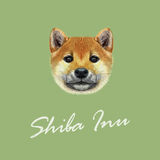 Vector Illustrated portrait of Shiba Inu Dog. Cute red face of domestic dog on green background vector illustration