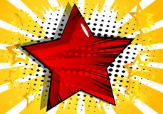 Background with big star filled with comic book effect. Vector illustrated retro background with big star filled with comic book effect, pop art vintage style stock illustration
