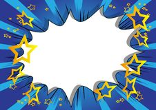 Comic book background with big blank explosion bubble on blue background. stock illustration