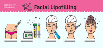 Vector Illustrated set with cosmetology facial lipofilling Stock Photography