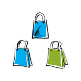 Vector illustrated set of shopping bags isolated on white backgr Stock Photo