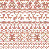 Vector illustrated traditional red nordic pattern with deers, hearts, snowflakes and Christmas trees stock illustration