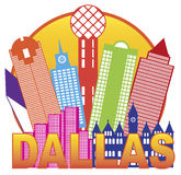 Vector Illustrati de Dallas City Skyline Color Circle Imagen de archivo libre de regalías