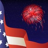 Vector illustratie - 4 van Juli. Amerikaanse vlag. Royalty-vrije Stock Foto's