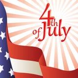 Vector illustratie - 4 van Juli. Amerikaanse vlag. Royalty-vrije Stock Fotografie