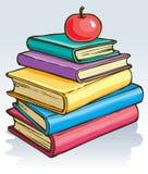 Vector illustratie Apple op boeken Stock Foto's