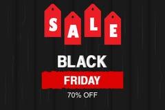 Vector illustratie Black Friday-Verkoopbanner met prijskaartje en houten textuurachtergrond stock illustratie