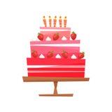 Vector illustratie Cake met room, bessen vector illustratie