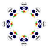 Vector illustratie Dag van de dode affiche, banner, kaart Het pictogram van Diade los muertos op witte achtergrond Ronde Reeks va vector illustratie