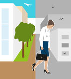 Vector illustratie De arbeider, vrouw, werd in brand gestoken Personeelsverminderingen toe te schrijven aan de financiële crisis vector illustratie