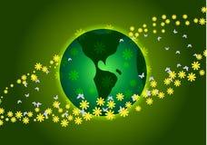 Vector illustratie De Dag van de aarde Groene Planeet en gele bloemen Royalty-vrije Stock Afbeeldingen