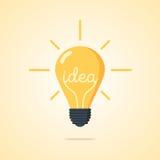 Vector illustratie De gloeilamp met het woord van idee en de stralen glanzen Royalty-vrije Stock Afbeeldingen