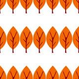 Vector illustratie De herfst vlakke die boom op witte achtergrond wordt geïsoleerd Naadloos patroon stock illustratie
