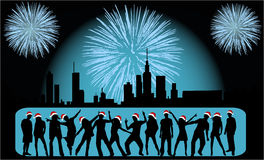 Vector Illustratie - de Mensen van de Viering van de Stad Royalty-vrije Stock Afbeeldingen