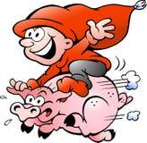 Vector illustratie die van elf op een varken berijdt Stock Afbeeldingen