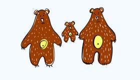 Vector illustratie Draag familie Drie bruine beren De papa draagt Moeder draagt en weinig beer Voor het cre?ren van kledingsontwe royalty-vrije illustratie