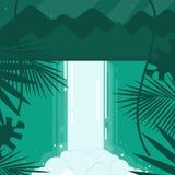 Vector illustratie Een conceptueel beeld van een waterval in een vlakke stijl Smaragdgroene, blauwe, groene tonen Bergen in vector illustratie