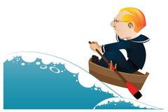 Vector illustratie Een zeeman in een boot die op ruwe overzees varen Stock Foto