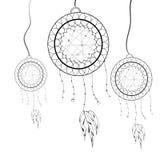 Vector illustratie Etnische totem Dreamcatcher doodle tatoegering Stock Afbeeldingen