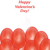 Vector illustratie gestileerd groen hart Rode Ballons op Witte Achtergrond Stock Foto