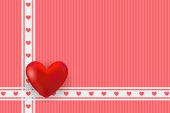 Vector illustratie gestileerd groen hart Rode harten en gouden kader met ruimte voor tekst royalty-vrije illustratie
