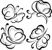Vector, illustratie, grafiek, vlinders, vlucht, schoonheid, lichtheid, lijnen vector illustratie