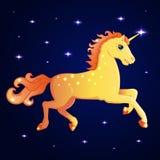 Vector illustratie Heldere eenhoorngalop door de nachthemel die door sterren wordt omringd Stock Fotografie