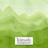 Vector illustratie Het landschap van de waterverf met bergen Stock Foto